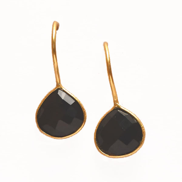 Sterling Silver Onyx Drop Earrings
