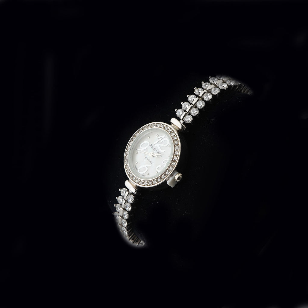 CZ Round Shaped Silver Watch