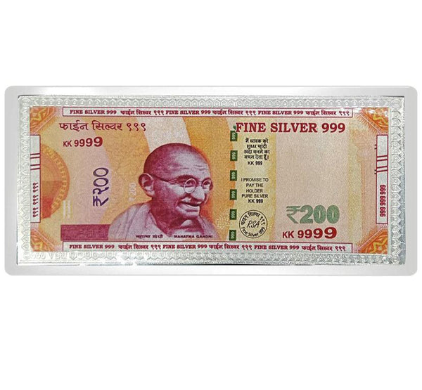 999 Silver Currency Note of Rs 200 for Gifting Purpose