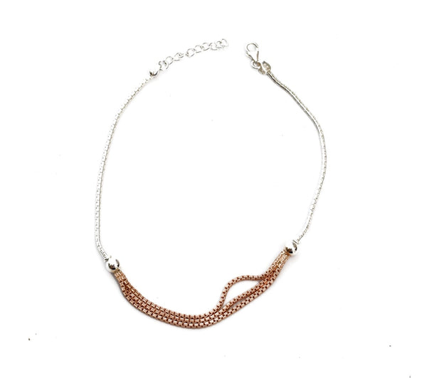 Silver Triple Layer Rose Gold Anklet