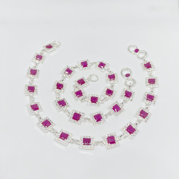 Stylish Silver Ruby Charm Anklet