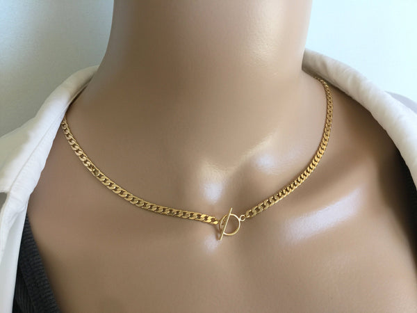 14K Gold Filled Chunky Chain Necklace Bone Arrow Chunky Toggle Pendant
