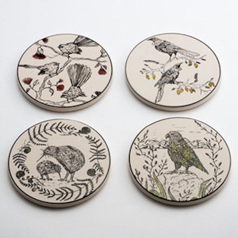 Coasters - New Zealand Native Birds Set of 4 - Floral Affaire