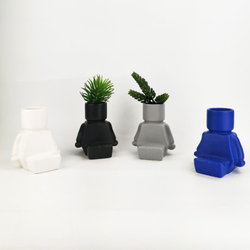 Block Man Planter - Sitting - Floral Affaire