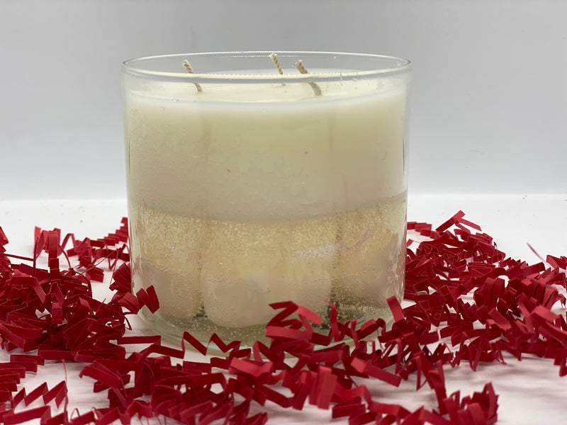 Sale- 3 Wick Candles with Soy/Gel Wax - Ivory Anchors