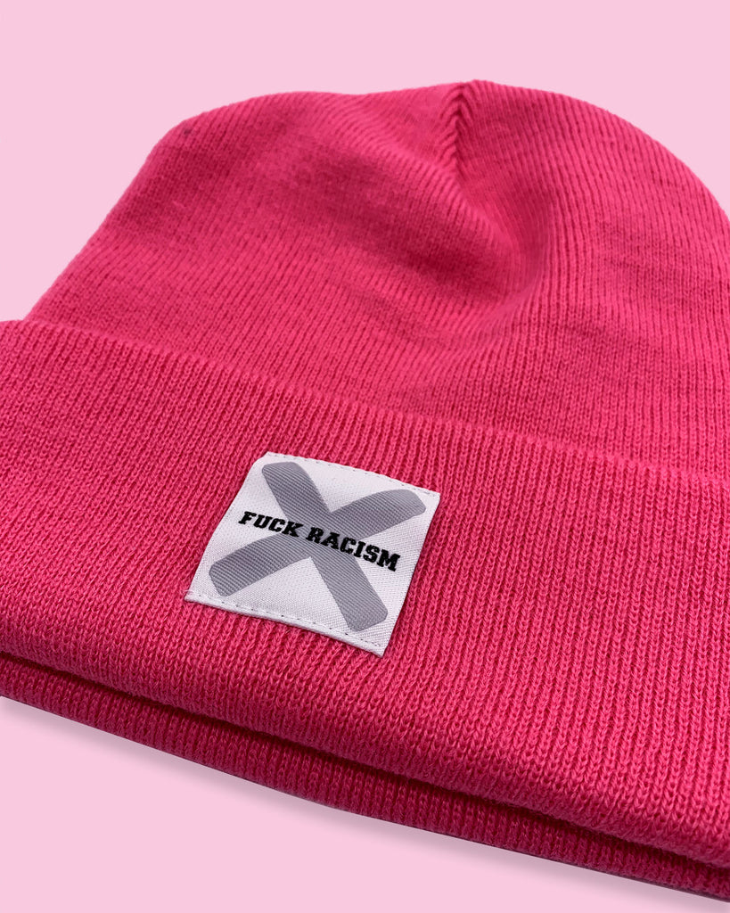 BEANIE | FUCK RACISM | NADINE ANGERER | PINK