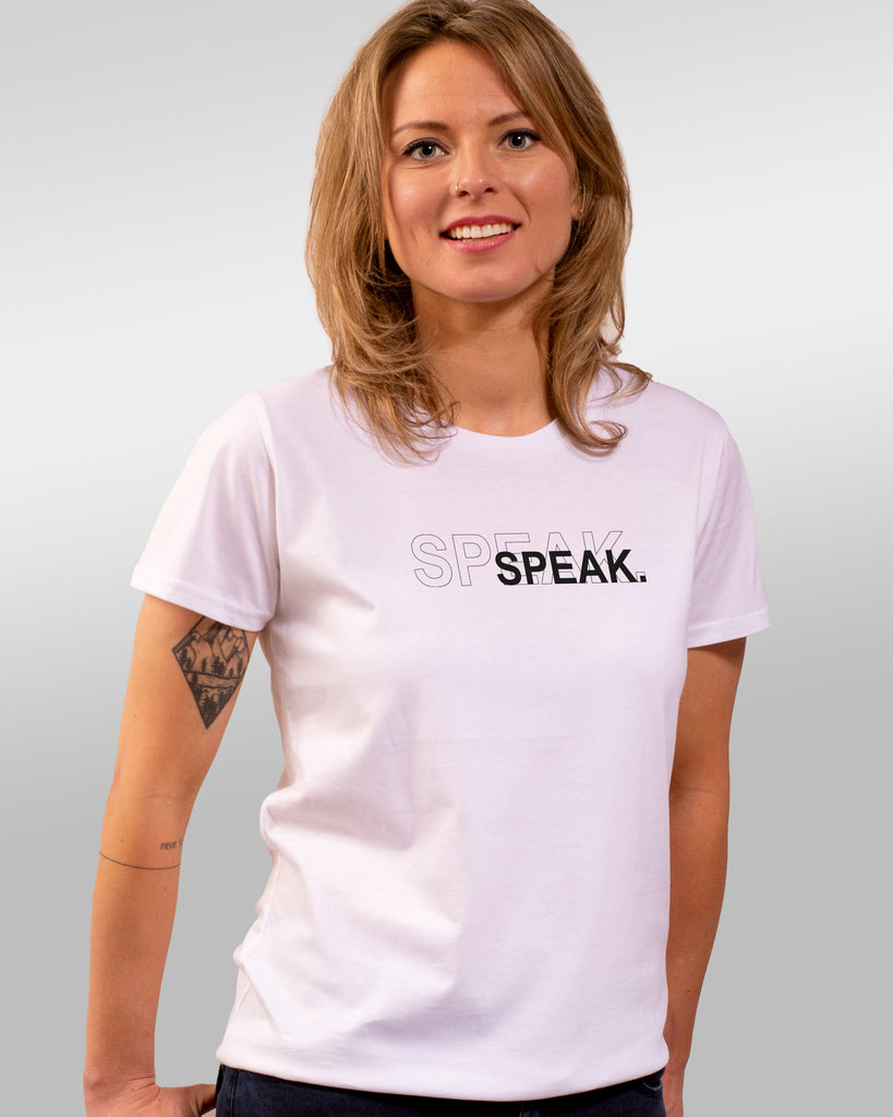 shirt | speak | white