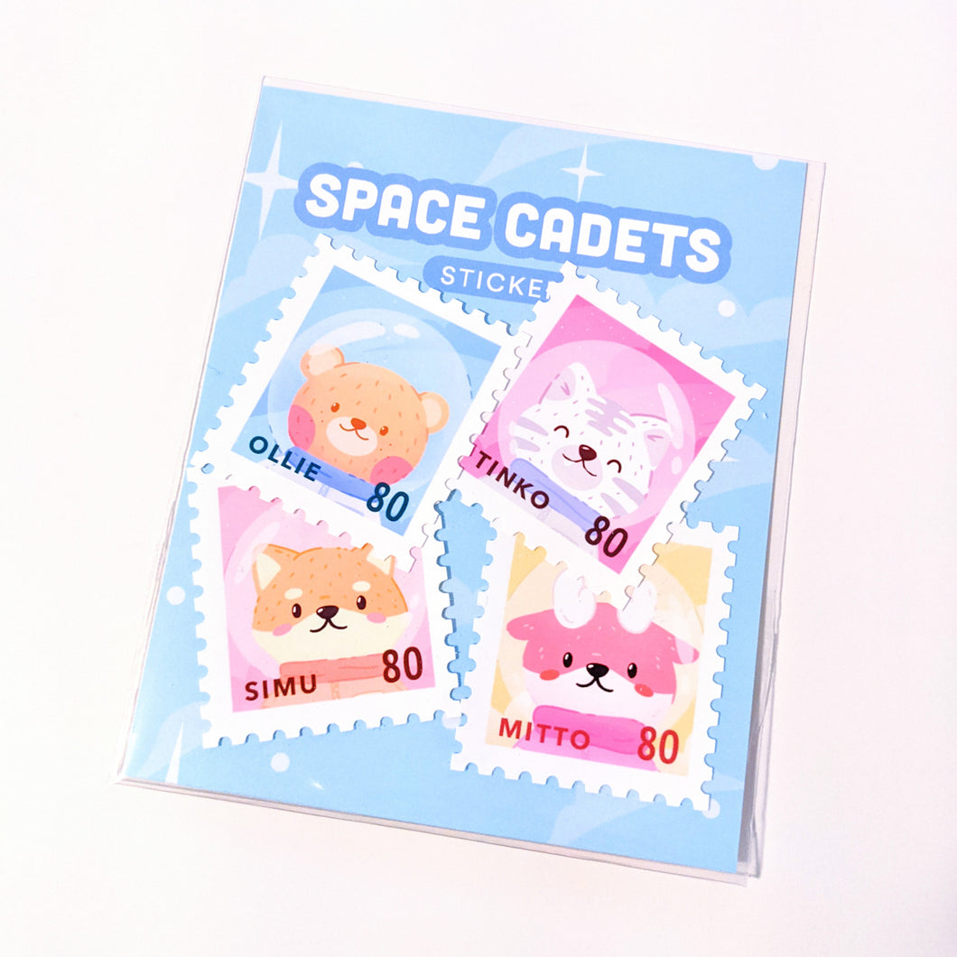 Space Cadet Stamps Weatherproof Stickers