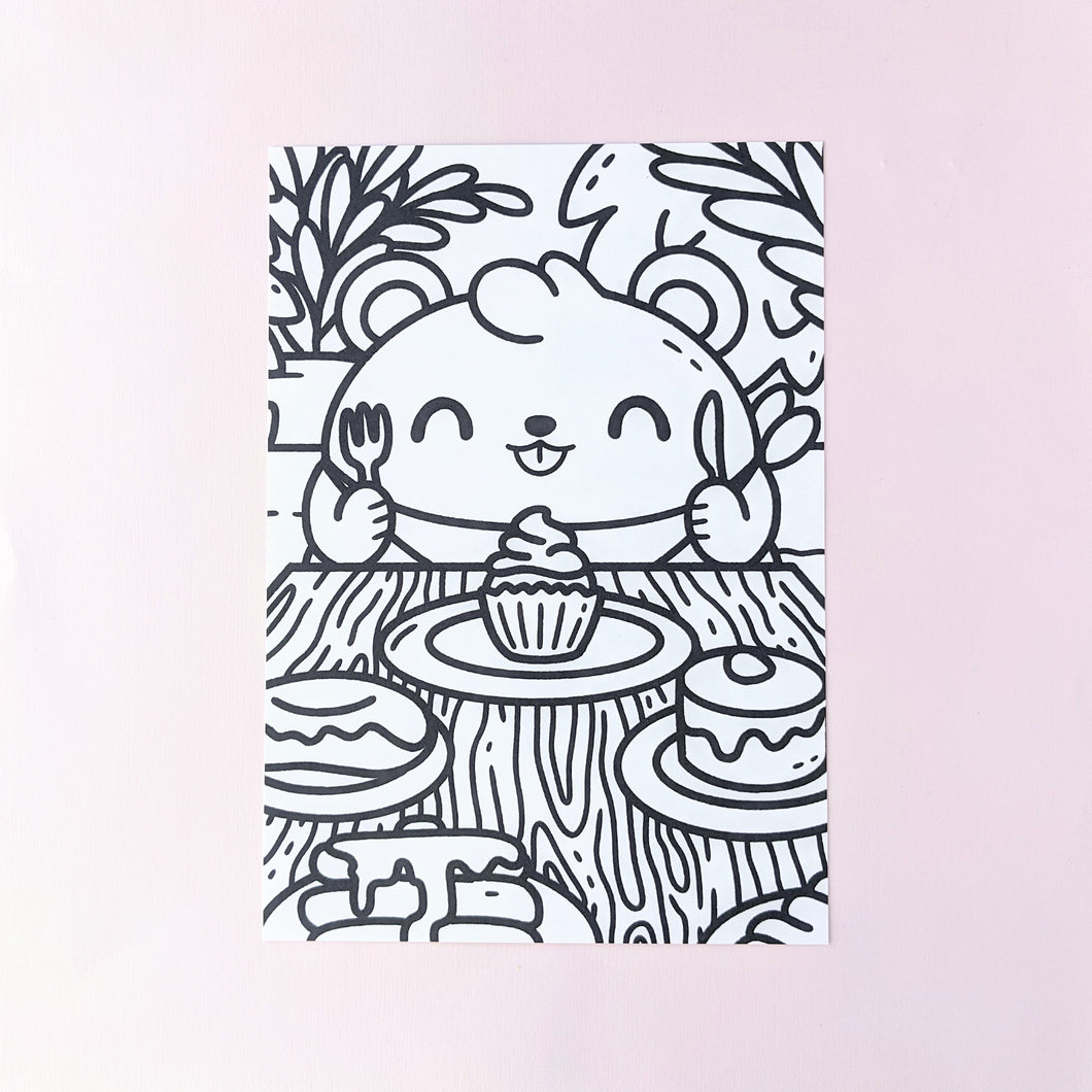 Dessert Bear Colouring Page