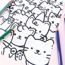 Load image into Gallery viewer, Cat Pile Colouring Page