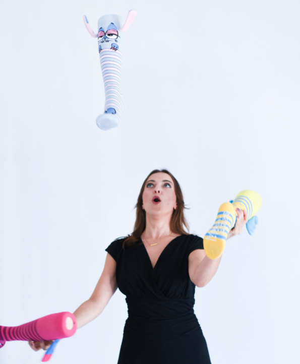 Olga Kay juggling the best corporate virtual event