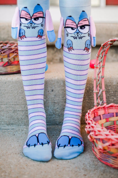 Lily Novelty 3d Socks With Ears And Grip Bottoms