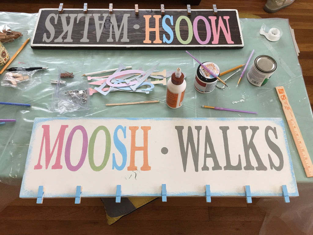 mooshwalks wooden sign