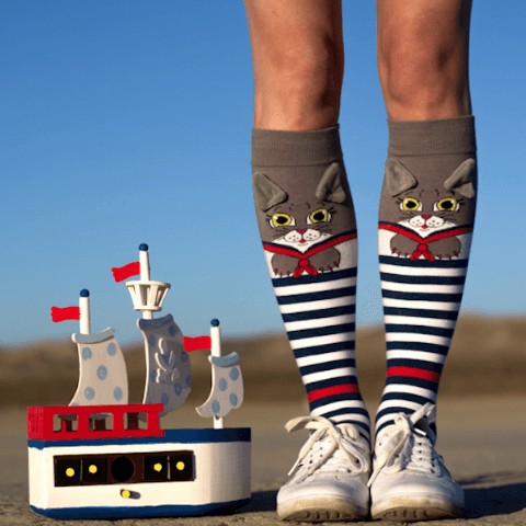Mushka Nautical Cat Socks
