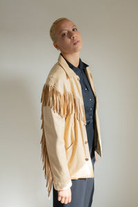 Vintage Ralph Lauren tan leather fringed jacket // M (1660)