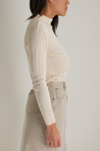 Vintage cream silk ribbed mock neck sweater // S (1474)
