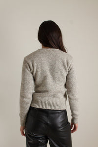Vintage brown and white wool penguin sweater // XS (1540)