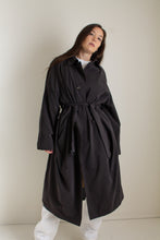 Load image into Gallery viewer, Y2K charcoal belted minimal trench coat // XXL+  (1446)