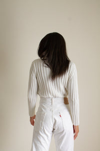 Vintage white cotton mock neck ribbed sweater // S (1523)