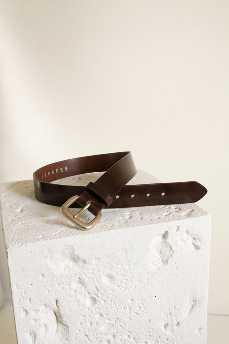 Y2K brown shiny leather belt // 28