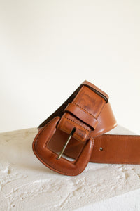 "Vintage tan wide leather covered buckle belt // 31"" - 35"" waist (1505)"