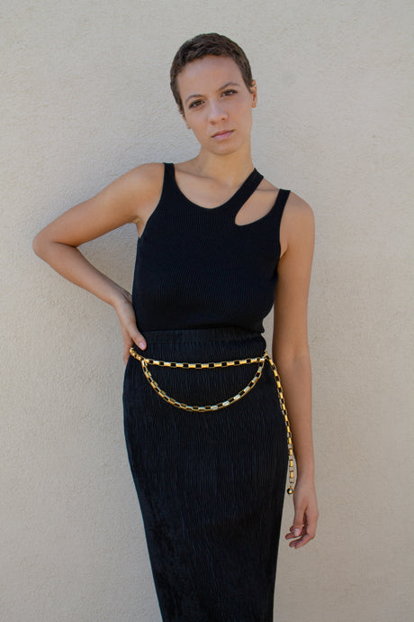 Vintage gold rectangle chain link belt  // adjustable up to 43.5