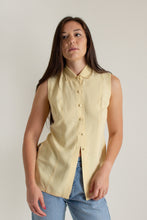 Load image into Gallery viewer, Vintage yellow silk button up sleeveless blouse // S (1354)