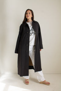 Y2K charcoal belted minimal trench coat // XXL+  (1446)