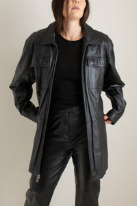 Y2K black leather drawstring jacket // XXL+  (1369)