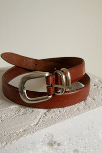 "Vintage light brown leather and silver belt // 32-36"" waist  (1504)"