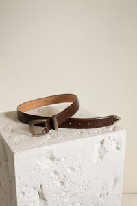 Vintage brown reptile embossed leather and metal belt // S-M (1045)