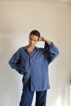 Load image into Gallery viewer, Vintage blue flowy button up shirt // XXL+  (1360)