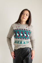 Load image into Gallery viewer, Vintage brown and white wool penguin sweater // XS (1540)