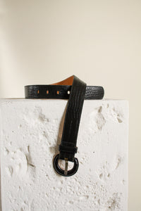 "Vintage black leather reptile embossed belt // 25"" to 29"" waist (1471)"