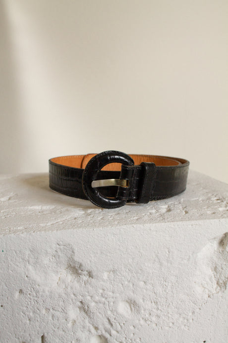 Vintage black leather reptile embossed belt // 25