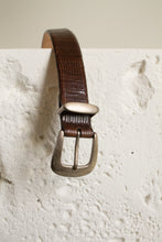 Load image into Gallery viewer, Vintage brown reptile embossed leather and metal belt // S-M (1045)