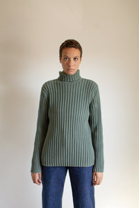 Y2K green cotton heavy ribbed turtleneck // XXL+  (1525)