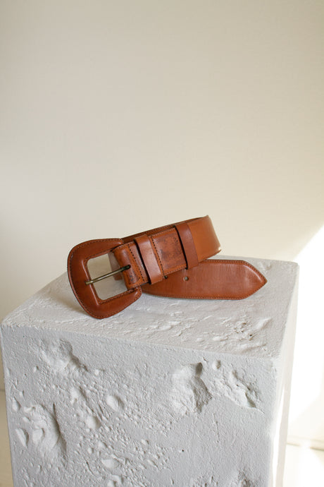 Vintage tan wide leather covered buckle belt // 31