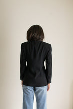 Load image into Gallery viewer, Vintage black collarless minimal blazer // S (1328)