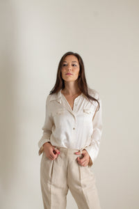 Vintage ivory silk charmeuse button up blouse // XL (1392)