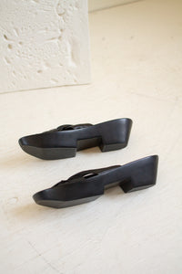 Vintage black leather flatform wedges // 9 (1397)