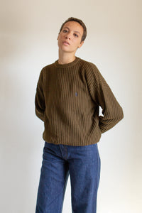 Vintage olive green brown chunky sweater // XXL+  (1353)