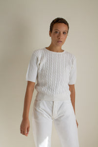 Vintage white cotton blend cable knit short sleeve sweater // M (1322)