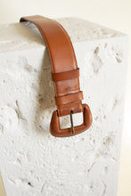 "Load image into Gallery viewer, Vintage tan wide leather covered buckle belt // 31"" - 35"" waist (1505)"