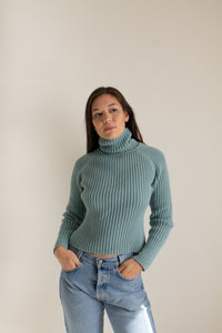 Vintage teal cotton chunky ribbed sweater // M (1406)