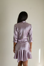 Load image into Gallery viewer, Vintage purple silk charmeuse button front ruffle hem dress // S (1387)