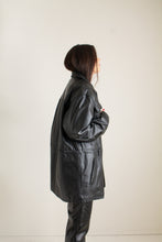 Load image into Gallery viewer, Y2K black leather drawstring jacket // XXL+  (1369)