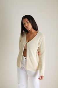 Vintage beige one button open knit cardigan  // S (1346)
