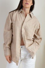 Load image into Gallery viewer, Vintage tan linen and cotton button down shirt // XXL (1784)