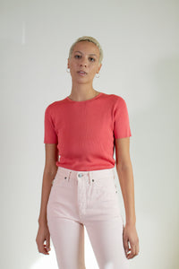 Vintage coral silk short sleeve sweater // M (1748)